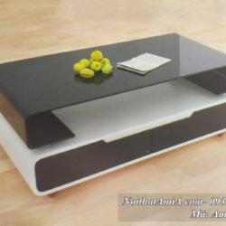 Hình ảnh bàn trà mặt kính đen chữ C mã AmiA BT 09