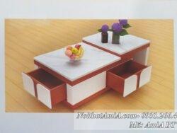 Hình ảnh mẫu bàn sofa mặt đá xếp tầng
