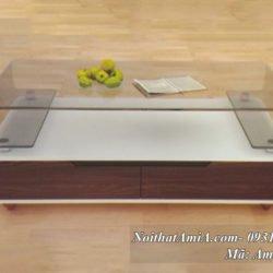 Hình ảnh bàn trà mặt kính màu trong suốt chữ C hiện đại AmiA BT 10