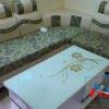 Họa tiết nỉ màu xanh là ghế sofa da pha nỉ giá rẻ SF133E