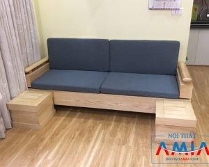 Ghế sofa gỗ có nệm nỉ dạng vang SF194 amiA