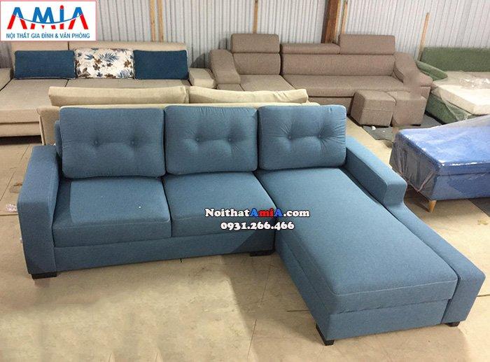 Hình ảnh Mẫu ghế sofa nỉ giá rẻ cho phòng khách đẹp thiết kế hình chữ L 3 chỗ