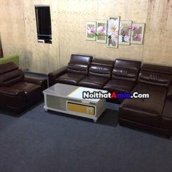 Ảnh bộ ghế sofa da phòng khách cao cấp SFD186 thực tế