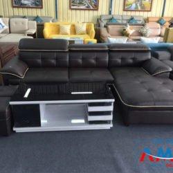 Sofa da góc chữ L cho phòng khách hiện đại AmiA SF197
