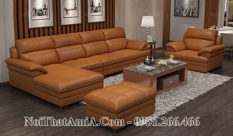 Sofa da chữ L màu cam đất mã SF204
