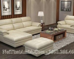 Sofa AmiA 204 màu trắng kem da phòng khách