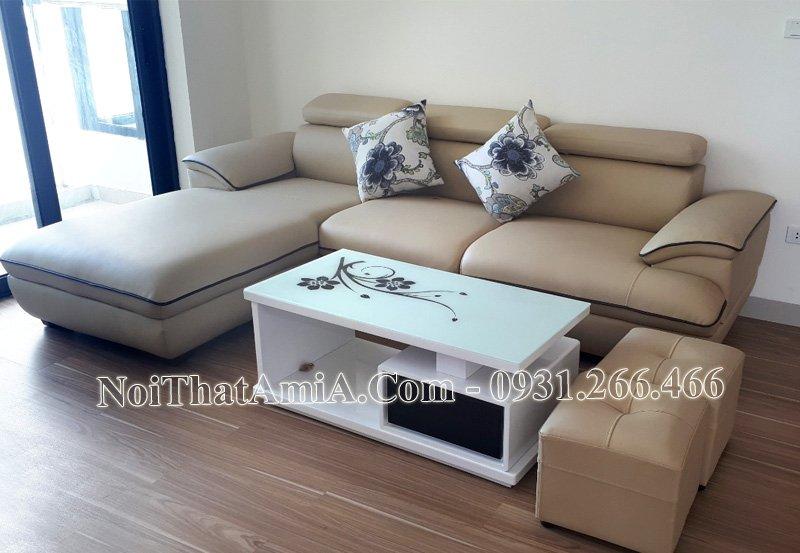 Sofa góc chữ L có viền kẻ AmiA Sf093
