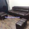 Bộ ghế sofa da đẹp phòng khách SFD211 kê tại chung cư khách hàng