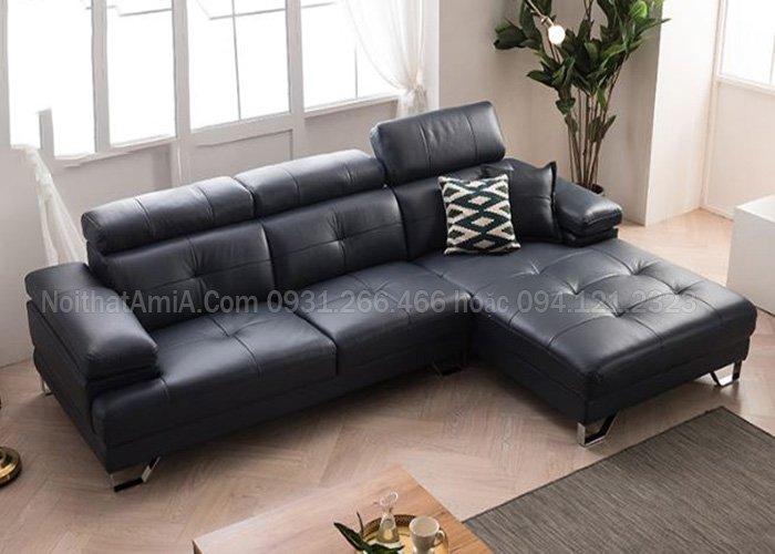 Hình ảnh mẫu ghế sofa da phòng khách hiện đại màu đen SFD207