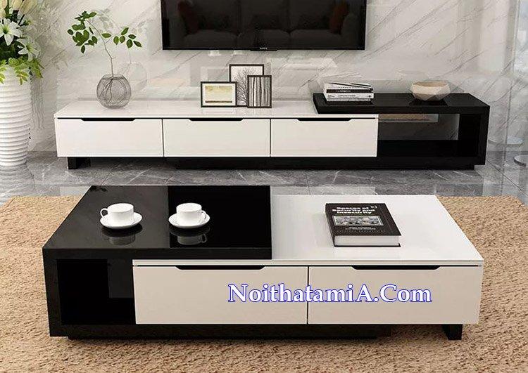 Kệ tivi gỗ giá rẻ phủ sơn bóng đẹp màu đen trắng KTV239