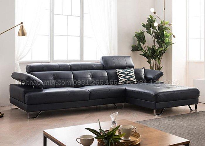 Mẫu ghế sofa da phòng khách hiện đại thiết kế rút khuy SFD207