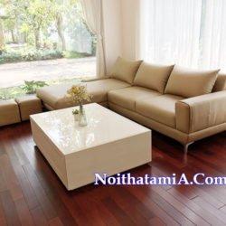Ghế sofa góc da giá rẻ màu kem SFD223