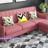 Mẫu ghế sofa văng nỉ đẹp hiện đại màu phấn hồng SFN217