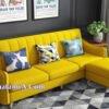 Mẫu ghế sofa văng nỉ đẹp hiện đại màu vàng chanh SFN217
