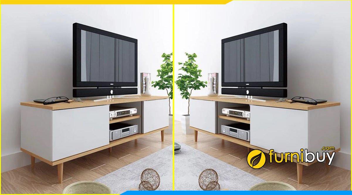 Mẫu kệ tivi đẹp cho phòng ngủ chân gỗ cao