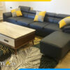 Ghế sofa da màu đen kiểu góc chữ L AmiA 2820
