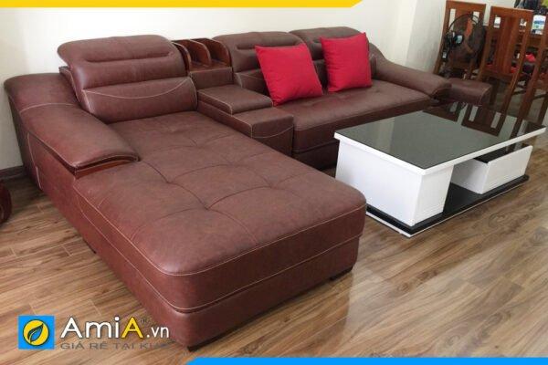 Ghế sofa da hiện đại kiểu góc có hộc gỗ AmiA SFD127B