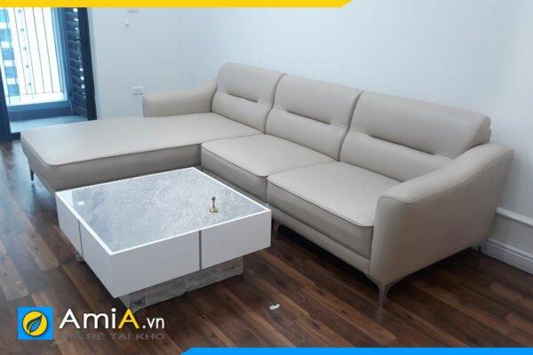 Ghế sofa da thiết kế đơn giản kiểu góc AmiA SFD3020