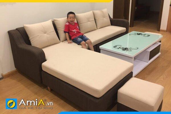 Ghế sofa nỉ đẹp phối màu trẻ trung AmiA SFN2220