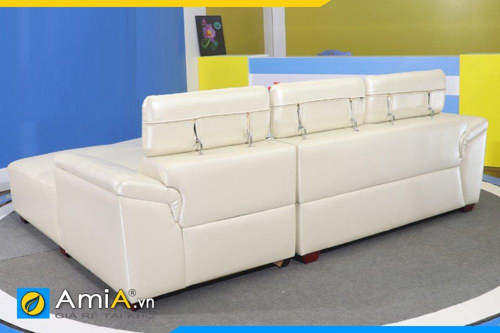 Mặt sau của bộ sofa da màu trắng kem sang trọng kiểu góc AmiA SFD3320
