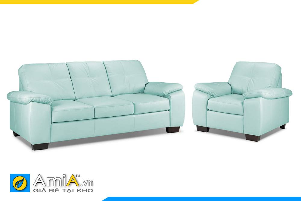 Ghế sofa da màu xanh lơ 1 văng dài và 1 ghế chủ chân gỗ thấp