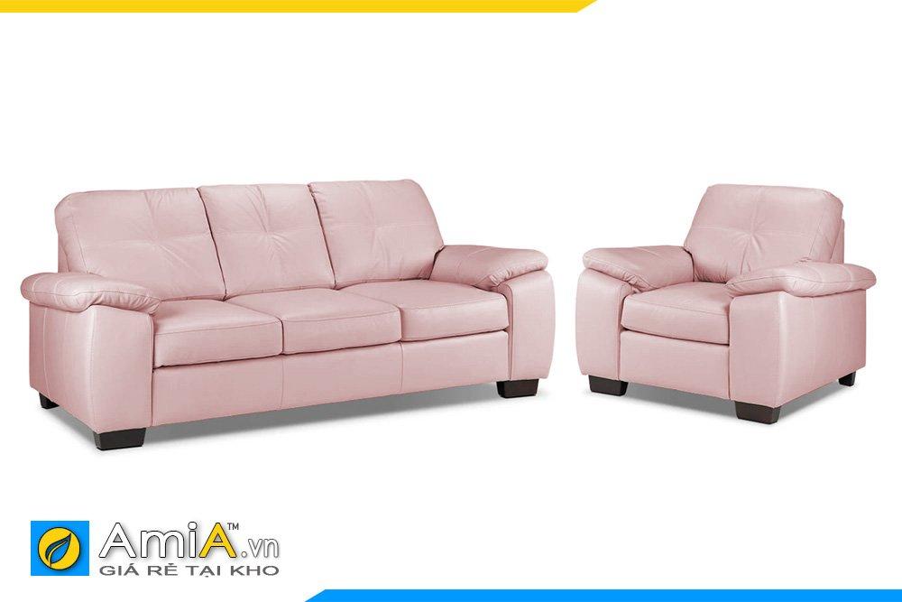 Ghế sofa da 1 văng dài và 1 ghế chủ chân gỗ thấp màu hồng