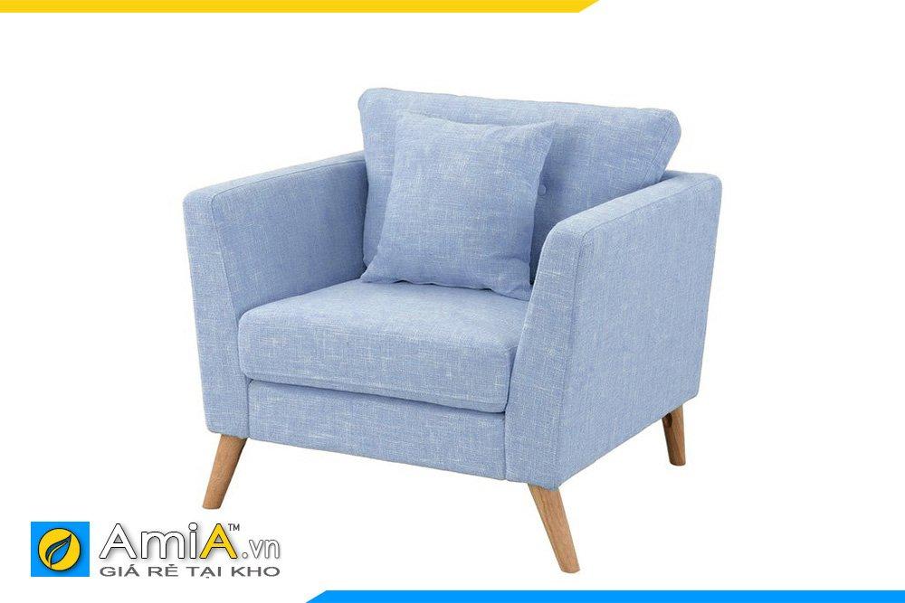 Một chiếc sofa nỉ màu xanh chân gỗ cao sẽ giúp không gian thêm trẻ trung, hiện địa hơn