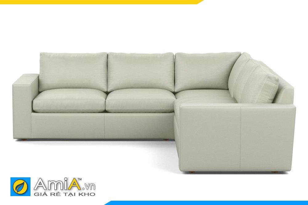 Sofa da kiểu dáng góc chữ L có tựa tay 2 đầu, tựa lưng rời dạng gối