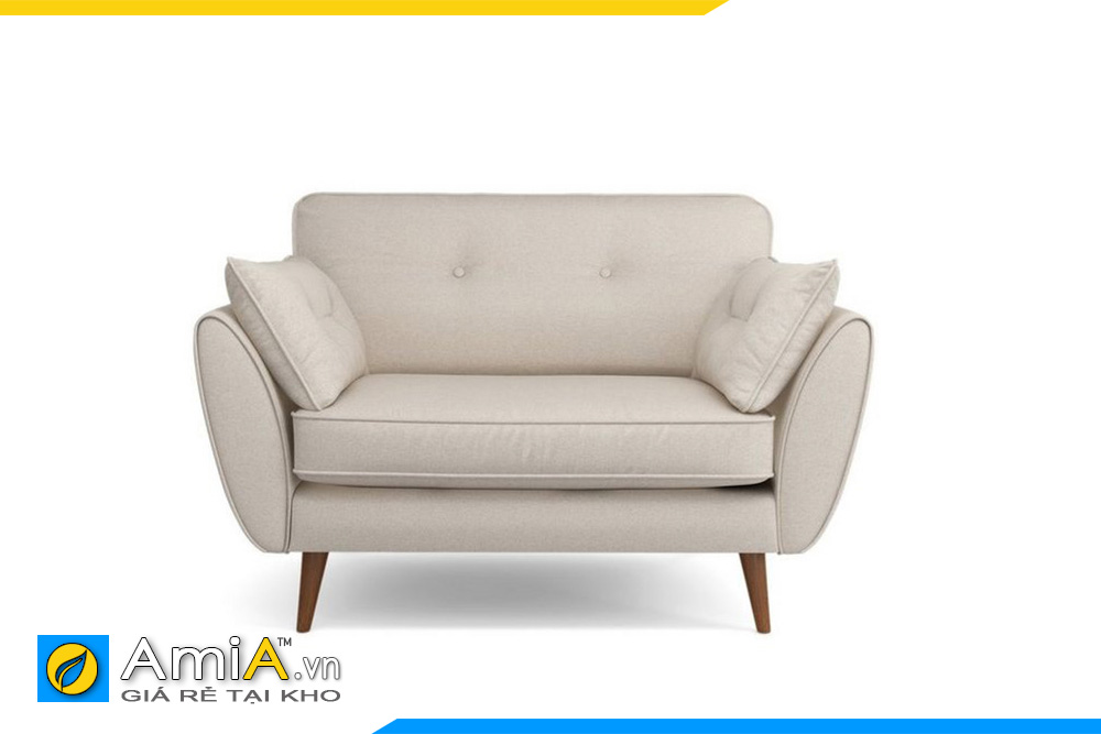 Ghế sofa kiểu dáng đơn tựa tay ngửa phía ngoài, chân gỗ cao mang nhiều nét Bắc Âu