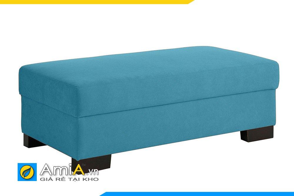 Sofa đôn nỉ màu xanh băng dài, chân thấp mặt nệm phẳng