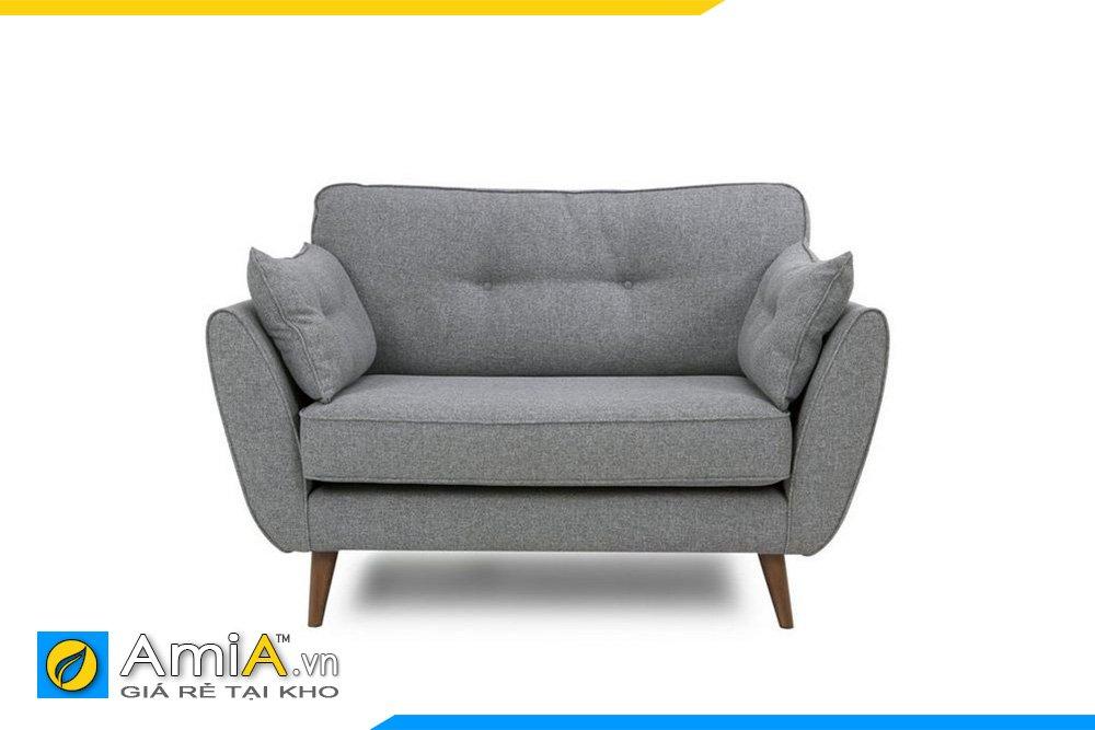 Sofa đơn màu ghi xám lông chuột hiện đại, chân ghế cao thanh lịch