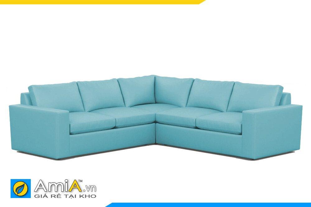 Bộ sofa màu xanh dương kiểu dáng chữ V cho khách vuông vắn