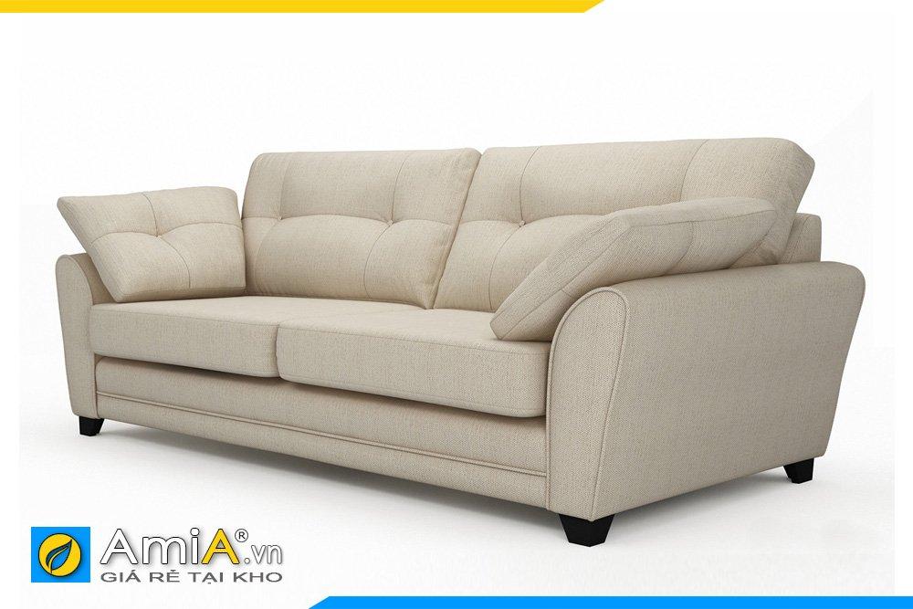Hình ảnh cạnh bên của mẫu sofa văng nỉ màu kem sáng