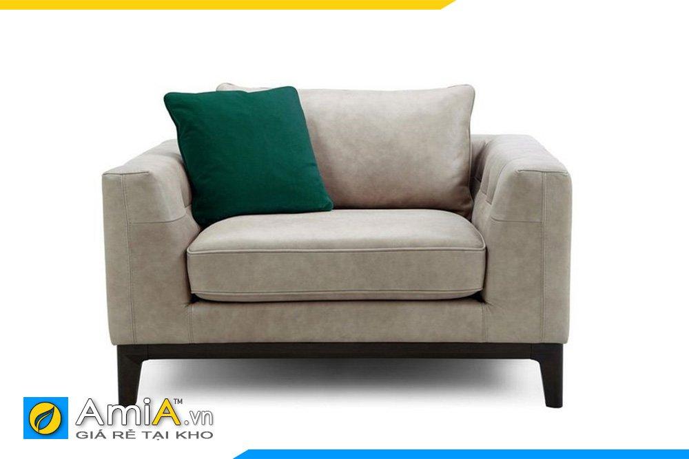Ghế sofa đơn 1 chỗ ngồi khung gỗ, tựa rời màu mắm tôm hiện đại