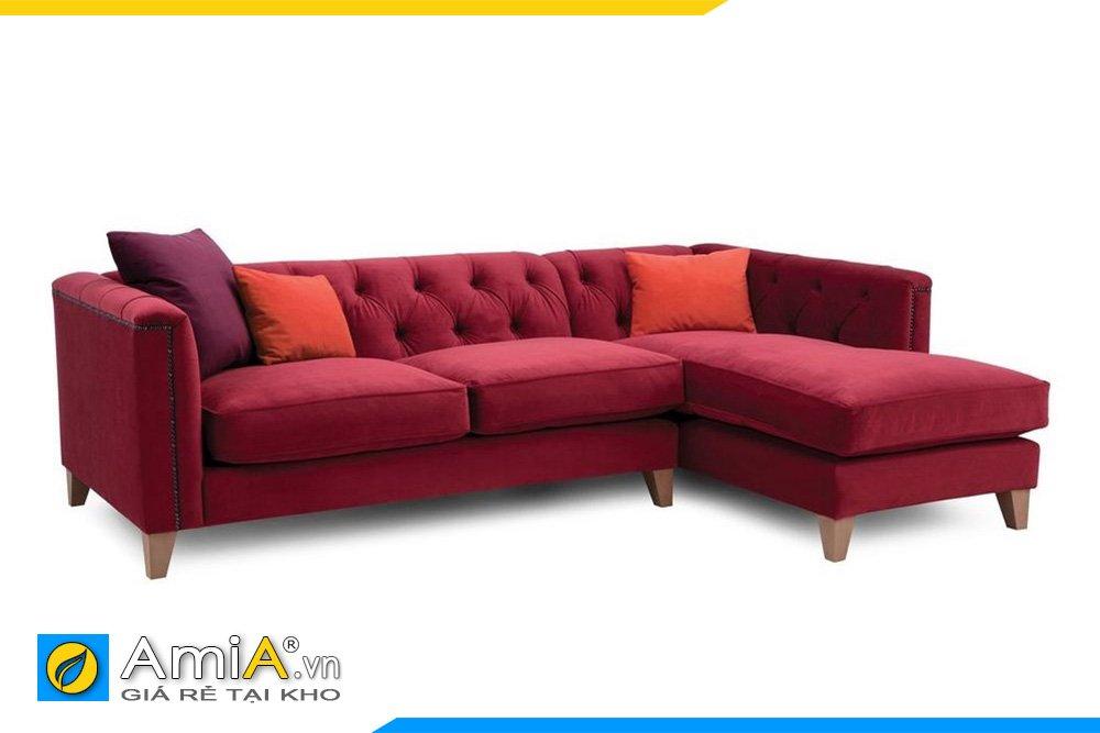 Bộ ghế sofa góc chữ L bọc vải nỉ màu đỏ, chân gỗ cho phòng khách cá tính