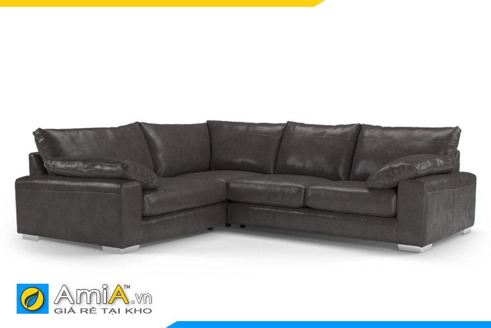 Bộ sofa da góc chữ L màu đen cho phòng khách sang trọng