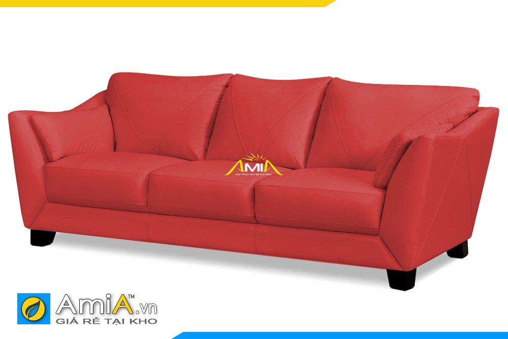 Hình ảnh cạnh bên của mẫu Sofa da văng 3 chỗ ngồi màu đỏ