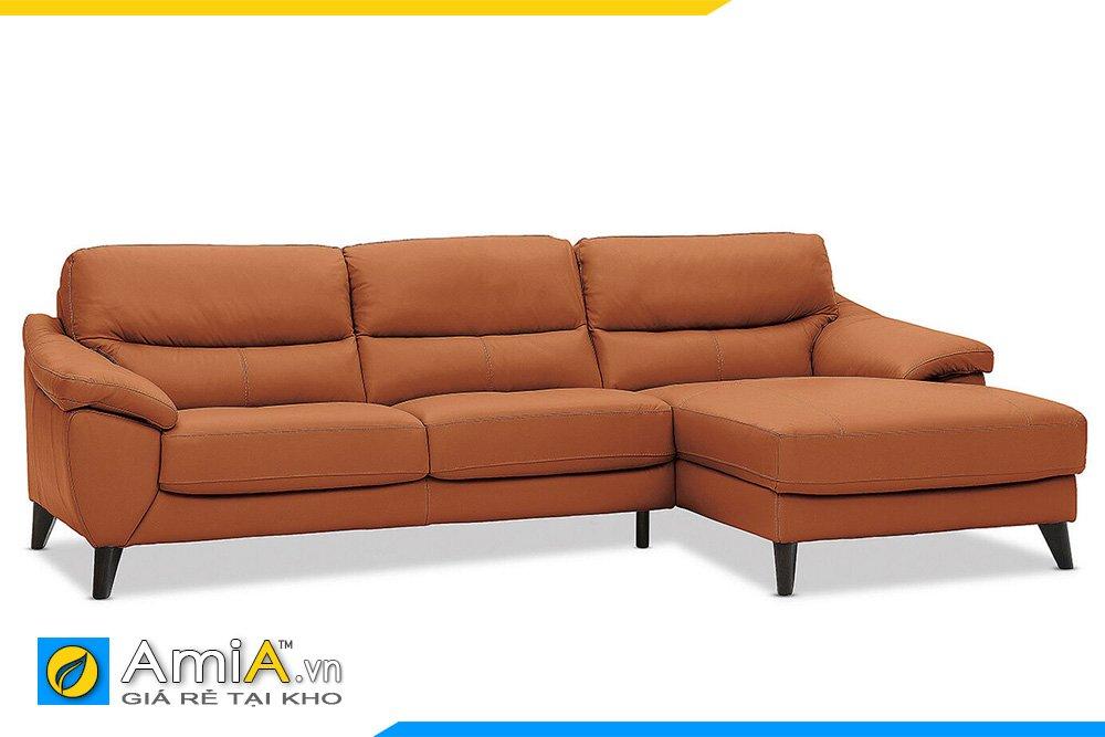 sofa da góc chữ L chân cao hiện đại