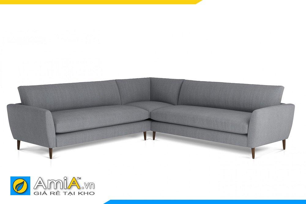 Sofa vải nỉ kiểu dáng chữ V màu ghi xám, chân cao trẻ trung