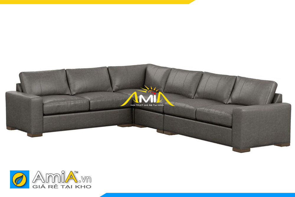 Sofa da màu ghi xám góc chữ L khổ lớn cho phòng khách rộng