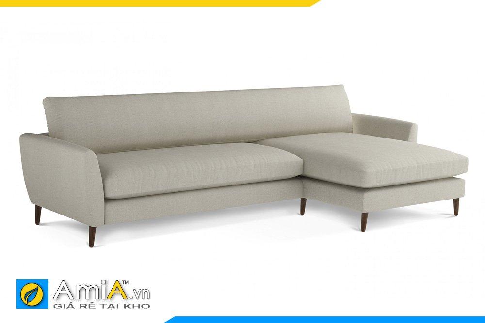 Sofa vải nỉ kiểu dáng chữ L màu xanh kem