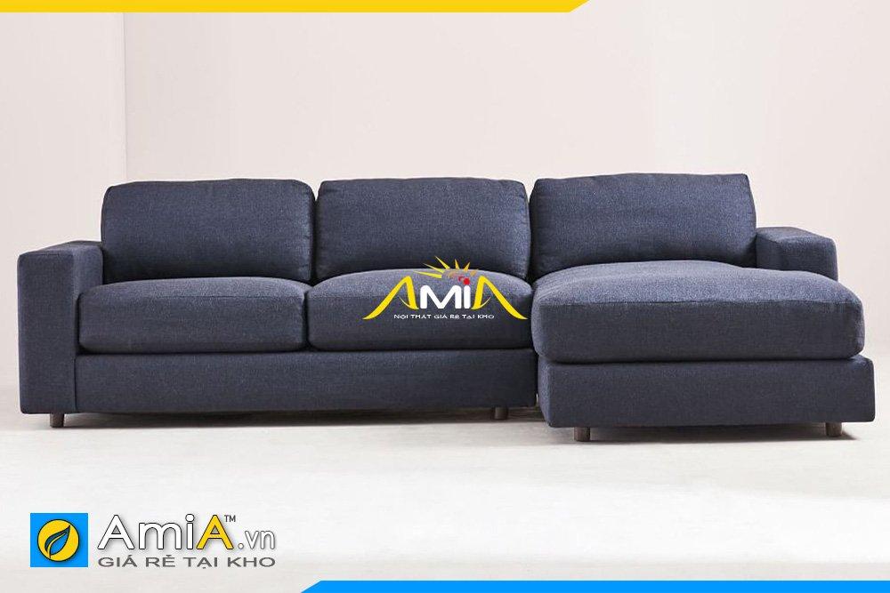 Sofa nỉ màu xanh đen kiểu dáng chữ L