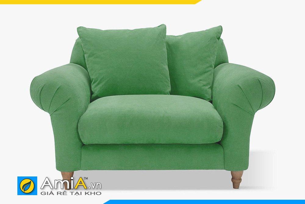 Sofa văng đơn kiểu dáng tân cổ điển 1 chỗ ngồi dành cho phòng ngủ màu xanh