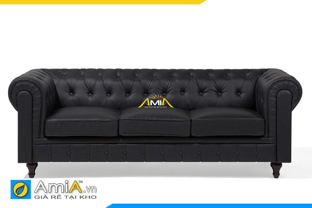 Ghế sofa văng da tân cổ điển màu đen
