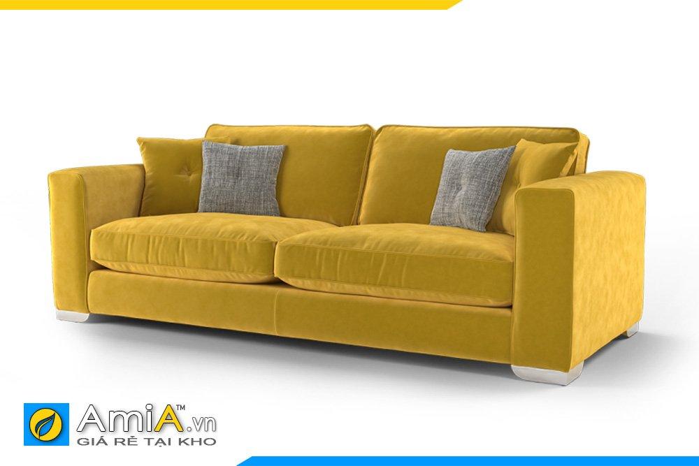 Sofa màu vàng tạo điểm nhấn cho không gian tông vàng nhạt, ấm áp