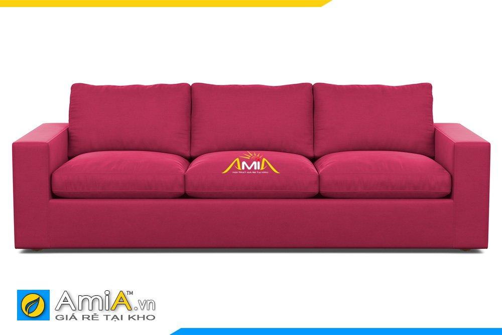 Sofa văng 3 chỗ ngồi chân thấp tựa lưng rời màu hồng sậm