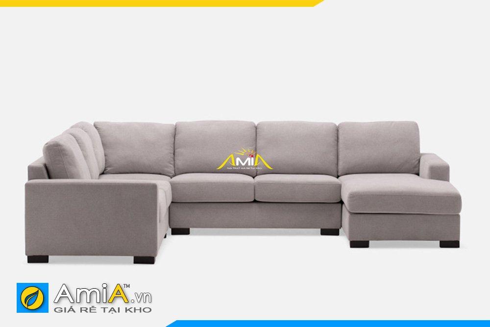 Bộ sofa góc chữ U màu xám trắng