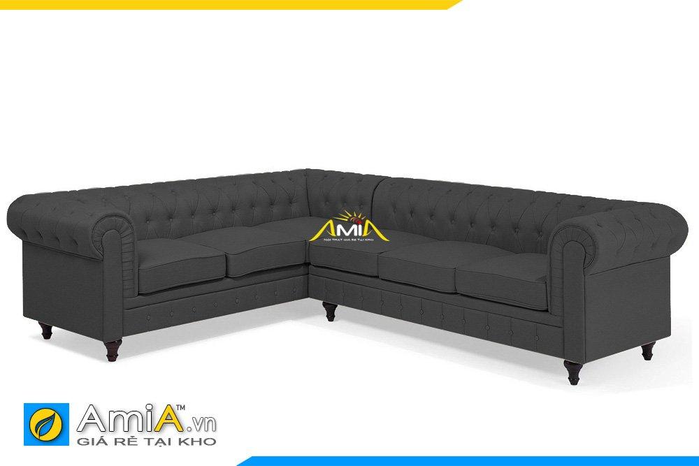 Sofa nỉ tân cổ điển màu ghi đen