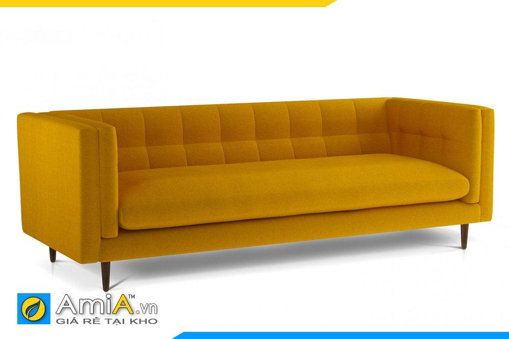 Sofa nỉ văng dài nệm ngồi liền, tựa tay cao dáng tân cổ, chân gỗ cao màu vàng
