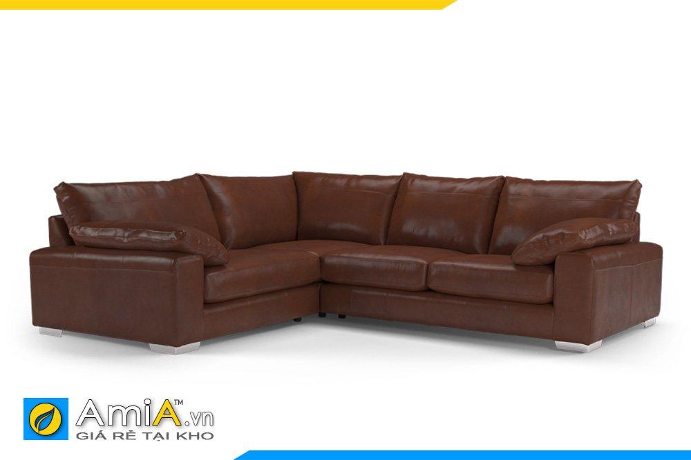 Sofa góc kiểu dáng chữ L chất liệu da màu nâu da bò